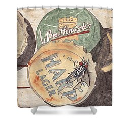 Bottlecaps And Barfly Shower Curtain by Ken Powers