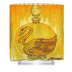 Bottled Gold Swan Shower Curtain
