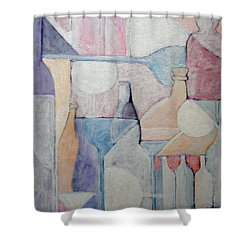 Bottles And Glasses Shower Curtain by Ana Maria Edulescu