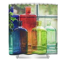 Bottles In The Window Shower Curtain