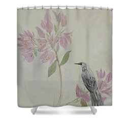Shower Curtain featuring the painting Bougainvillea And Mockingbird by Donna Walsh