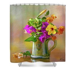 Bougainvilleas In A Green Jar. Shower Curtain