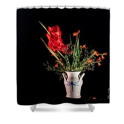 Bouquet In Red Shower Curtain by Torbjorn Swenelius