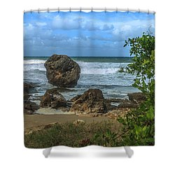 Shower Curtain featuring the photograph Boulder Beach by Jose Oquendo