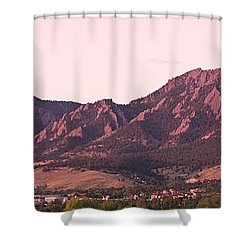 Boulder Colorado Flatirons 1st Light Panorama Shower Curtain