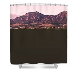 Boulder Colorado Flatirons 1st Light Panorama Shower Curtain