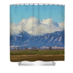 Shower Curtain featuring the photograph Boulder Colorado Front Range Cloud Pile On by James BO Insogna