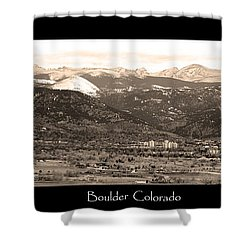 Boulder Colorado Sepia Panorama Poster Print Shower Curtain