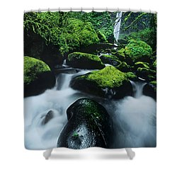Shower Curtain featuring the photograph Boulder Elowah Falls Columbia River Gorge Nsa Oregon by Dave Welling