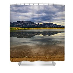 Boulder Flatirons From Marshall Lake Shower Curtain by Juli Ellen