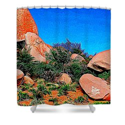 Boulders 7 In Abstract Shower Curtain