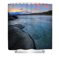 Boulders And Ice On The Athabasca River Shower Curtain by Dan Jurak