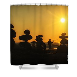 Boulders By The Sea Shower Curtain