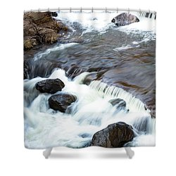 Boulders In The Rapids Shower Curtain