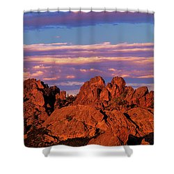 Boulders Sunset Light Pinnacles National Park Californ Shower Curtain by Dave Welling