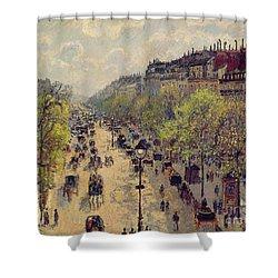 Boulevard Montmartre Shower Curtain by Camille Pissarro