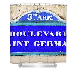 Boulevard Saint Germain Sign In Paris Shower Curtain