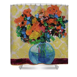 Bouquet-a-day #7 Original Acrylic Painting Free Shipping 59.00 By Elaine Elliott Shower Curtain