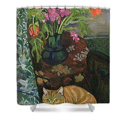 Bouquet And A Cat Shower Curtain by Marie Clementine Valadon