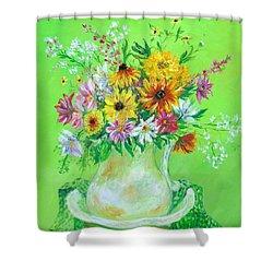 Bouquet By May Villeneuve Shower Curtain
