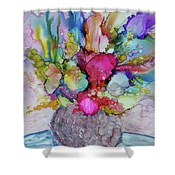 Shower Curtain featuring the painting Bouquet In Pastel by Joanne Smoley