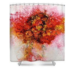 Shower Curtain featuring the painting Bouquet In Red by Carolyn Rosenberger