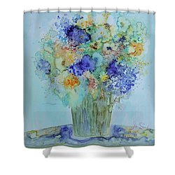 Shower Curtain featuring the painting Bouquet Of Blue And Gold by Joanne Smoley