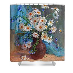 Bouquet Of Daisies In A Vase From Clay Shower Curtain