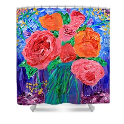 Bouquet Of English Roses In Mason Jar Painting Shower Curtain
