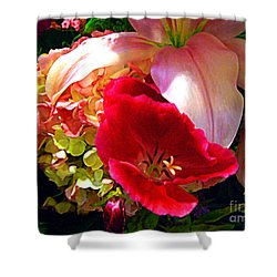 Bouquet Of Lilies Poppy And Hydrangea Shower Curtain by Merton Allen