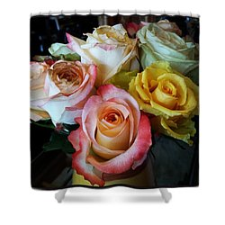 Shower Curtain featuring the photograph Bouquet Of Mature Roses At The Counter by Mr Photojimsf