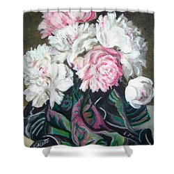 Shower Curtain featuring the painting Bouquet Of Peonies by Laura Aceto