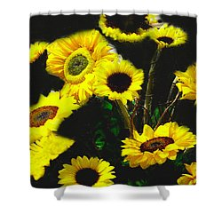Shower Curtain featuring the photograph Bouquet Of Sunflowers by Merton Allen