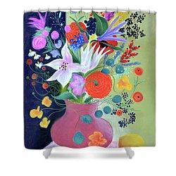 Bouquet With Dahlias And Blackberries Shower Curtain by Tatjana Krizmanic