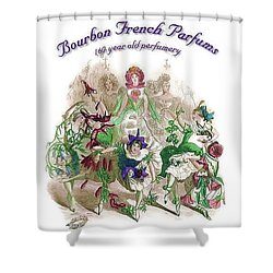Shower Curtain featuring the digital art Bourbon French Perfume by ReInVintaged