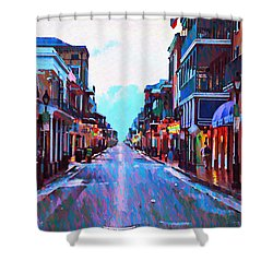 Bourbon Street At Dawn Shower Curtain by Bill Cannon