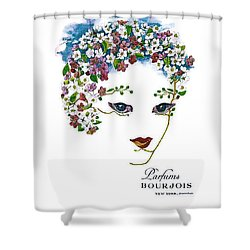 Shower Curtain featuring the digital art Bourjois by ReInVintaged