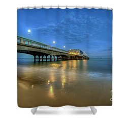 Shower Curtain featuring the photograph Bournemouth Pier Blue Hour by Yhun Suarez