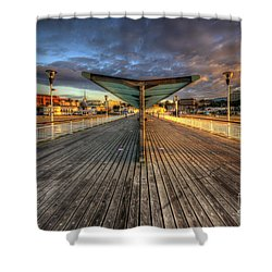 Shower Curtain featuring the photograph Bournemouth Pier Sunrise 2.0 by Yhun Suarez