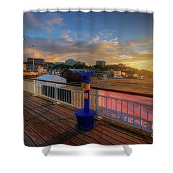 Shower Curtain featuring the photograph Bournemouth Pier Sunrise by Yhun Suarez