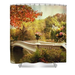 Shower Curtain featuring the photograph Bow Bridge Crossing by Jessica Jenney