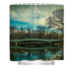 Shower Curtain featuring the photograph Bow Bridge Reflection by Chris Lord