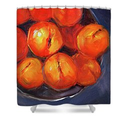 Bowl Of Peaches Still Life Shower Curtain by Nancy Merkle
