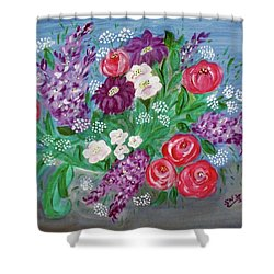 Shower Curtain featuring the painting Bowl Of Poisies by Sonya Nancy Capling-Bacle