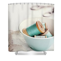 Bowl Of Vintage Spools Of Thread Shower Curtain