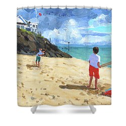 Bowling And Batting, Abersoch Shower Curtain