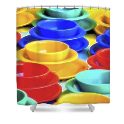 Shower Curtain featuring the photograph Bowls In The Window by Tom Singleton