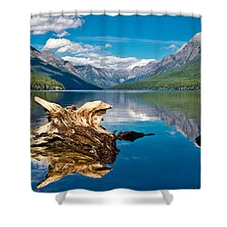 Bowman Lake 1, Glacier Nat'l Park Shower Curtain