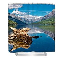 Bowman Lake 1, Glacier Nat'l Park Shower Curtain