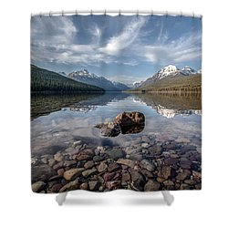 Bowman Lake Rocks Shower Curtain